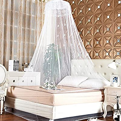 Unisky The Olympic Games Elegant Round Lace Bed Mosquito Netting Bed Canopy Netting Mesh Princess Round Dome Bedding Net - cheap UK light shop.