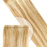 Tape Extension Strips-Haarverlängerung glatt: 30 cm / blond gesträhnt (#14+#24) 10 Stück / 8cm x 6mm* 35 Gramm (!) * Salonqualität* volle und dichte Spitzen (double drown)* Volumen & Haarverlängerung* mit Supertape aus USA* Innovation: extrem pflegeleicht+ haarschonend*