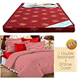 "Story @ Home Double Size Mattress with High Quality Foam (72"" X 60"" 4"") (Red)"