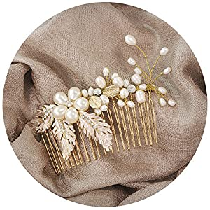 TOPQUEEN Strass Haarspange – Handmade Flower Clip Kamm Kopfstücke für Frauen A180621