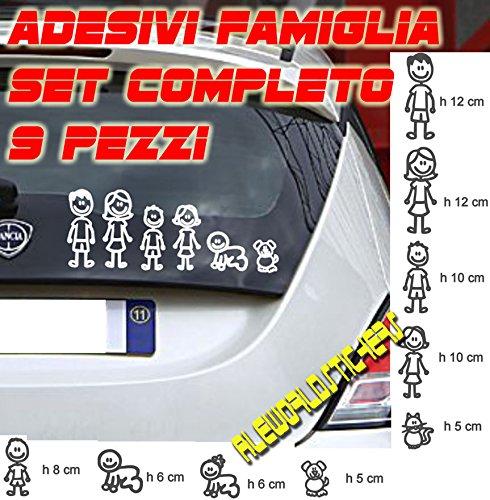 AWS Juego Completo Pegatinas Familia (9Piezas) Color Blanco Family Stickers Coche Vinilo...
