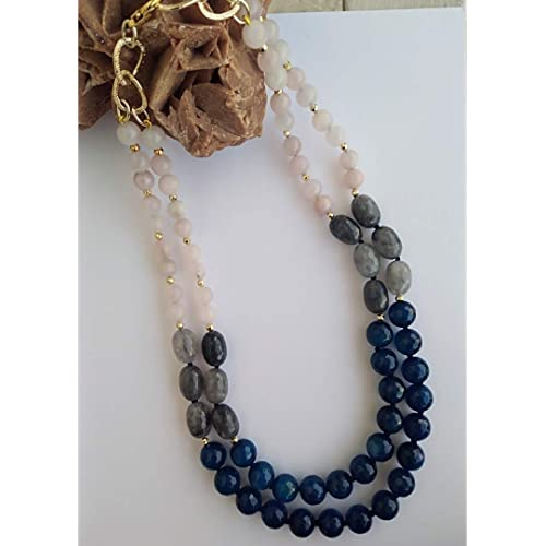 Collana fatta a mano con pietre dure agate blu e grigie e quarzo rosa. Handmade. Handmade