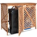 TecTake® Mülltonnenbox Mülltonnenverkleidung Abfalltonnenschrank Mülltonnensichtschutz für 2 Tonnen von TecTake bei Du und dein Garten