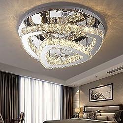 LED Kristall Deckenlampe 48W Moderne Kreative Design LED Lampen Rund Starlight Schlafzimmer Kristallleuchte Deckenleuchte für Wohnzimmer Esszimmer Schönes Dekor Kronleuchter, Ø55cm, warmweißes