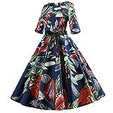 Felicove Damen Halbarm Floral Hepburn Vintage Swing Hochtailliertes Plisseekleid