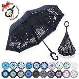 Parapluie Inversé,Parapluie Canne,Double Couche Coupe-Vent, Mains Libres poignée en forme C, Idéal pour Voiture et Voyage(Fleurs de cerisier)