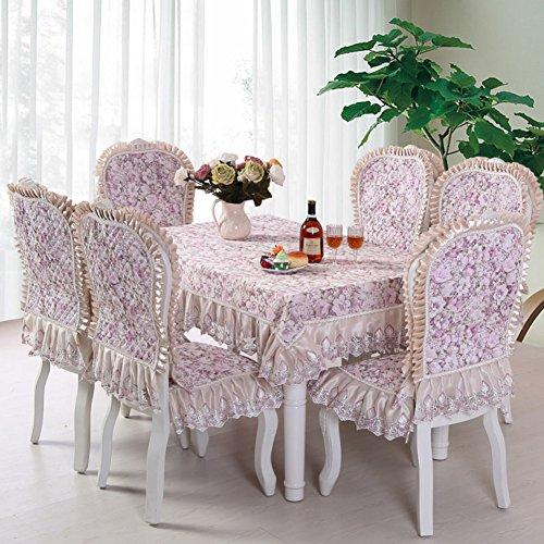 Style Européen Table Créative Chiffon Augmentation Coussins Chaise Couvrir Pastorale Set Dossier Rond Nappe Café-D 150x150cm(59x59inch)