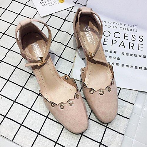 SHINIK Damen Knöchelriemen Pumps Runde Flache Sandalen Block Ferse Büro Schuhe Maultiere Schwarz Rosa Pink