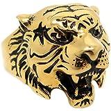 BOBIJOO JEWELRY - Anillo De Signet Cabeza De Tigre De Oro Negro De La Vendimia De Acero 316 Chapado En Oro Hombre