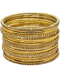 Sylque Bright And Stunning Golden Color Metal Bangles With Golden Nagh For Women And Girls (set Of 20)