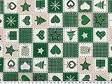 ab 1m: Weihnachtsstoff, Weihnachtsmotive, dunkelgrün,