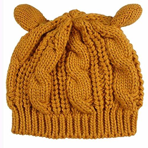 Women Hat,Transer ® 1PC Fleurs de chanvre oreilles chat bonnet Jaune