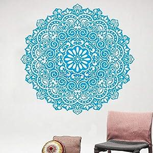 wukongsun Premium Hindu Mandala Indien Runde Aufkleber Wandaufkleber Hauptdekorationen Wohnzimmer Wohnaccessoires Mandala Blau 57x57cm