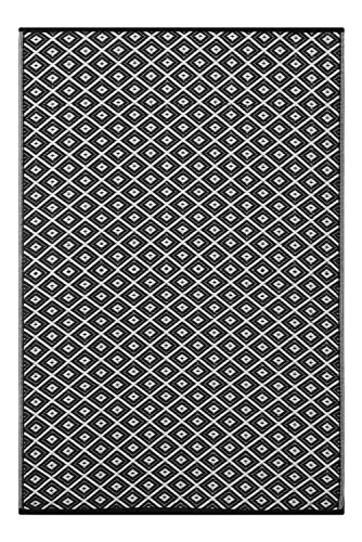 Green Decore 150 x 240 cm 'Arabian Nights' Alfombra Ecológica para Interiores y Exteriores de Plástico Reciclado - Ligera y Reversible - Indoor / Outdoor, Negro / Blanco