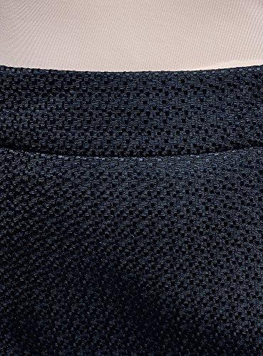 oodji Collection Damen Gerader Rock mit Zierreißverschlüssen Blau (7900N)