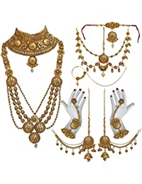 Lucky Jewellery Bridal Golden Color Alloy Gold Plated Wedding Jewellery Set For Girls & Women - B07C6HBC2M