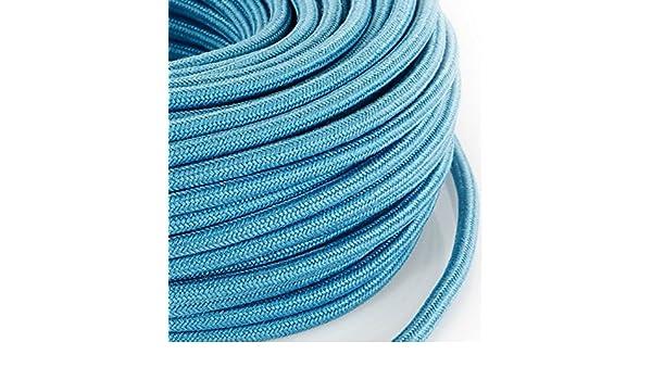 Made in Italy abat jour lampade design Cavo elettrico in tessuto tondo rotondo stile vintage rivestito 5 metri colorato Azzurro H03VV-F sezione 3x0,75 per lampadari