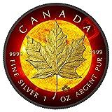 Solar Flare Maple Leaf C $5Unzen Silber & Ruthenium & vergoldet medaille–Kanada 2015