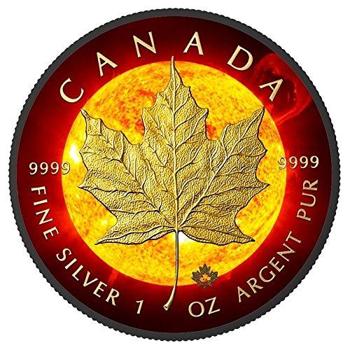 Leaf Kanada Silber Maple (Solar Flare Maple Leaf C $5Unzen Silber & Ruthenium & vergoldet medaille–Kanada 2015)