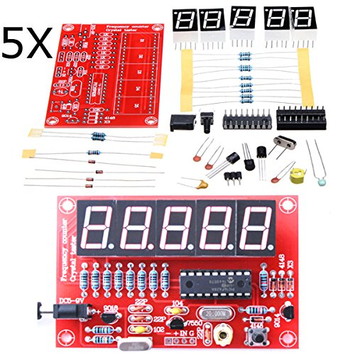 ILS - 5 pieces 1Hz-50MHz Five LED Display Frequency Counter With Frequency Oscillator Kit (Counter Wire Displays)