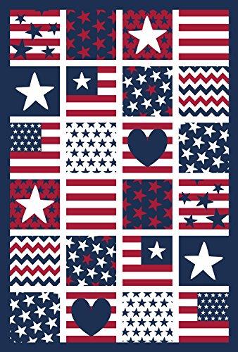 Toland Home Garden Patriotische Patches Dekorative USA Sterne Streifen Herz House Flag (28