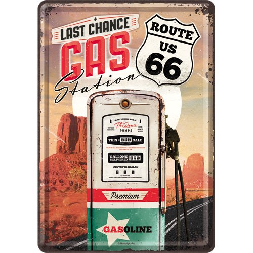 Nostalgic Art 10280 - Cartolina in metallo, soggetto: US Highways Route 66 Gas Station, 10 x 14 cm