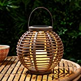 Lights4fun LED Solar Laterne Gartendeko Rattan Optik grau 22,5cm