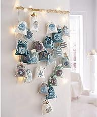 PureDay Adventskalender Magic Bags zum Befüllen - 24 nummerierte Stoffbeutel - Grau Mint Weiß