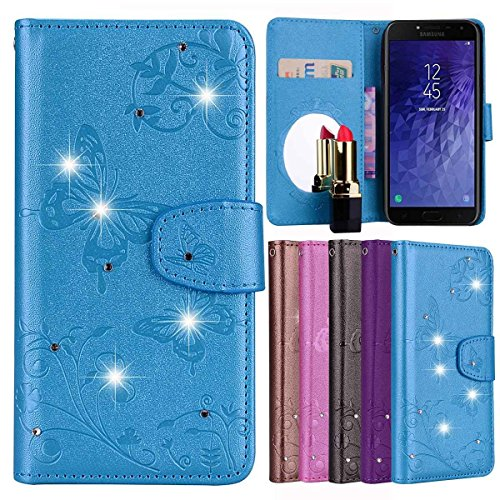Gelusuk Samsung Galaxy J4 2018(EU) Hülle,Galaxy J4 2018 Ledertasche,PU Leder Flip Wallet Brieftasche Schutzhülle mit Kartenfach Standfunktion [Schminkspiegel] Bookstyle Schutzhülle Case-Blau