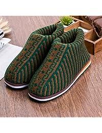 FRTEJ Pantofole di Cotone Soft Bottom Maglieria Lana Donne tessute a Mano Scarpe  di Cotone Basso 3232443d9c4