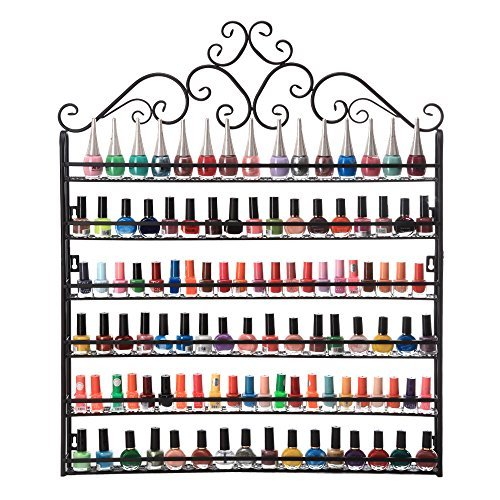 Dazone DIY montiert 6Wandregal Nagellack Wand Rack Organizer für 120Flaschen Nagellack oder ätherischen Ölen schwarz (Nagellack Nagellack Rack Und)