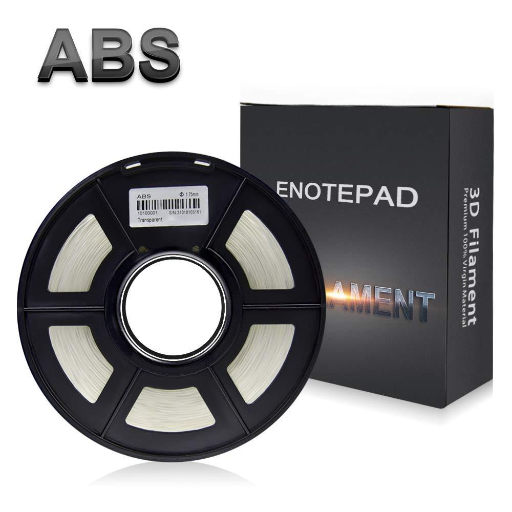 Enotepad Transparent ABS 3D Filament d'impression,Filament ABS pour imprimante 3D,précision Dimensionnelle +/- 0,02 mm, 1 kg/Bobine, 1,75 mm, Filament ABS pour imprimante 3D
