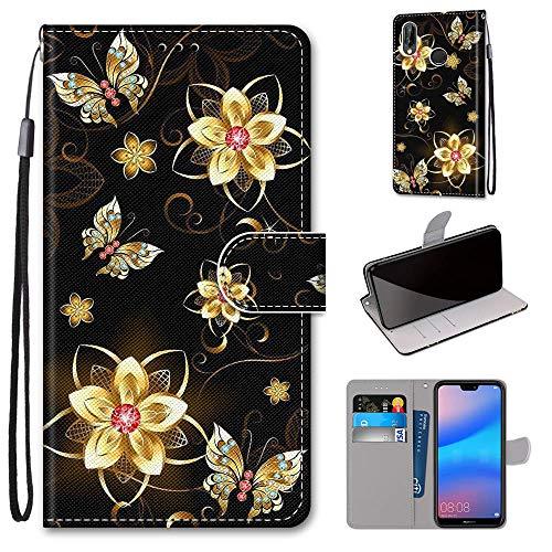 Miagon Flip PU Leder Schutzhülle für Huawei P20 Lite,Bunt Muster Hülle Brieftasche Case Cover Ständer mit Kartenfächer Trageschlaufe,Diamant Schmetterling