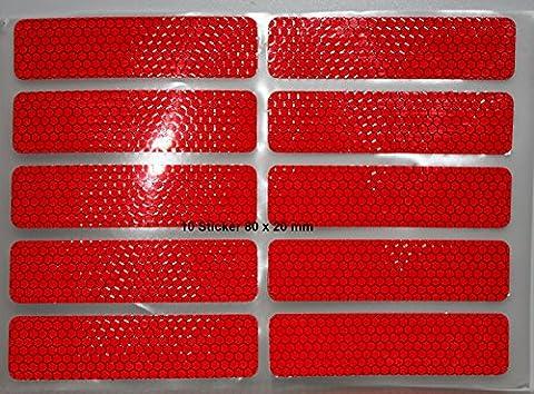 UvV-Reflex: Reflektoren für Fahrrad, PKW, Anhänger, Parkpfosten oder zur Dekoration, rot reflektierend (10 Stück / 80 x 20 mm)