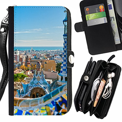 Price comparison product image FJCases Barcelona Spain Postcard View Card Holder Wallet with Strap and Zipper Cover Case for Samsung Galaxy S8