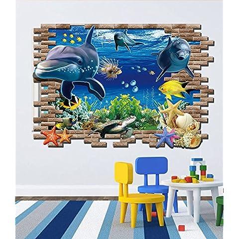 Autoadesivo della parete di immagini stereo 3D PVC mondo sottomarino alla ricerca di Nemo