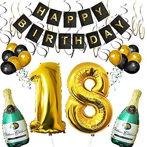 SHUIBIAN Happy Birthday Luftballons Banner Dekoration Set zum 18. Geburtstag Umfasst Aufblasbare Champagnerflaschen, 101,6cm Gold Nummer