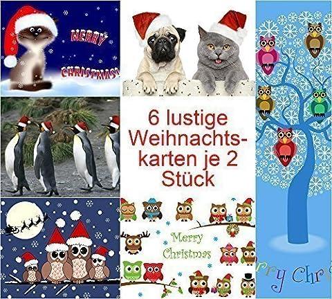 Witziges Weihnachtskarten-Set (12 Karten) mit Katzen, Eulen und Möpsen: