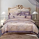 wanglele Bettbezug Golden Silber Weiß Rot Satin Luxus Jacquard Royal Betten Sets Queen Bettbezug Größe King Size Baumwolle Bettwäsche Set Kissenbezüge 200cm×220cm