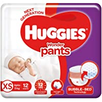 Huggies Wonder Pants Extra Small / New Born (XS / NB) Size Diaper Pants, 12 count, with Bubble Bed Technology for…