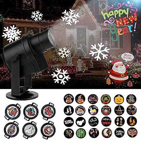 ACTOPP LED Projektionslampe Neue Version Logo Lampe 6 HD Gobos 24 alternative Muster und mehr gewünschte DIY Muster Lichtprojektor Garten Dekoration Außenbeleuchtung Weihnachten Halloween