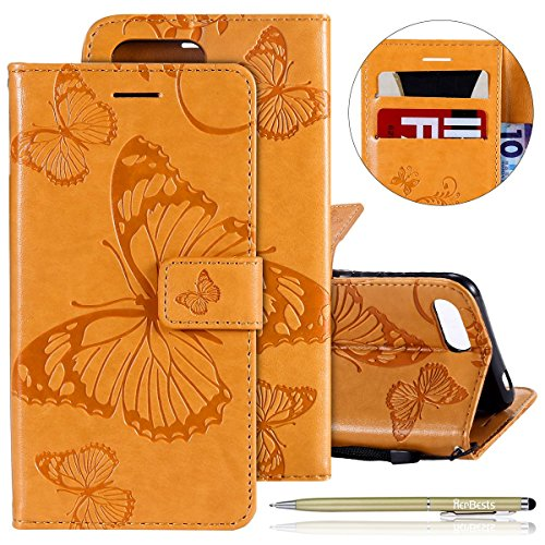 Herbests Leder Handy Schutzhülle für Huawei Honor 10 Lederhülle Schmetterling Muster Leder Handyhülle Handytasche Brieftasche Ledertasche Bookstyle Flip Case Cover Klapphülle,Gelb