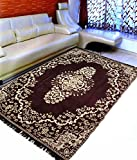 #10: Ab Home Decor Velvet Touch Abstract Chenille Multi-Purpose Carpet 5 ft x 7 ft for Living Room- Bedroom- Drawing Room-Study Room- Floor-Dining Hall,Brown