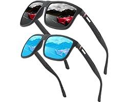 Polarized sunglasses for men/women; Vintage/classic/elegant light frame; HD pilot lenses; Golf/driving/fishing/travel Eyewear