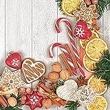Servilletas Servilletas 33x 33cm 20unidades packg. Servilleta técnica Navidad Jengibre caramelo Frutos secos