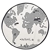 World Map Design Round Area Rugs, Baby Crawling Mats, Baby Nursery Kids Play Mat Children Rug Playmat Child Game Mats,Carpet Blanket Mats for Home Bedroom Living Room Playroom Floor Decoration,53 inch