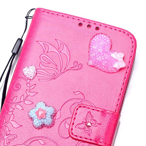 iPhone Case Cover Single Side Geprägte Blumenmuster PU-Leder-Kasten, Harz Rhinestone-Kasten-Buch-Entwurfs faltbare Bügel-Kasten-Mappen-Standplatz-Fall für Apple iPhone 4S ( Color : Black , Size : Ipho Red