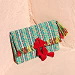 Kandara Ikat Woven Clutch with Red Tassels, Party Clutch in Turquoise, Cocktail Party Purse - handmade-bags