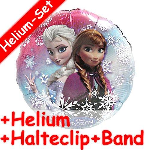Folienballon Set * ELSA & ANNA AUS FROZEN + HELIUM FÜLLUNG + HALTE CLIP + BAND * für Kindergeburtstag und Motto-Party // Kinder Geburtstag Folien Ballon Helium Deko Ballongas Motto Disney die Eiskönigin