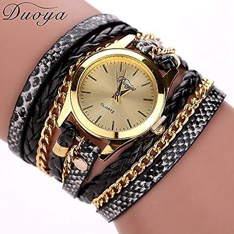 Nusey (TM) 77 modo di vendita calda nuovo tessuto leopardo Duoya orologio del braccialetto delle donne del vestito guarda le donne di marca di lusso della vigilanza del quarzo